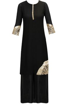 Black gota embroidered kurta set available only at Pernia's Pop-Up Shop.