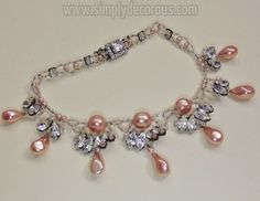 French pink glass pearl and rhinestone necklace