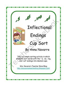 """This game is a very simple sorting activity in which students take turns reading the word cards and identifying the """"-s, -es, -ing, or –ed"""" inflectional ending. Then they decide on which cup it should be sorted into."""