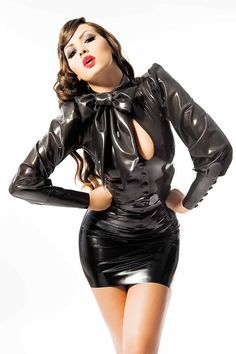 House of Harlot's POPPY Long Sleeved Latex Blouse with Decorative Bow at the Neck. So awesome!