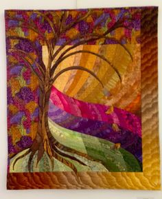 Quiltin' Jenny: Quickie Quilt Show.like the colours & fabric flow Lap Quilts, Small Quilts, Mini Quilts, Quilting Projects, Quilting Designs, Quilting Ideas, Tree Quilt, Quilt Art, Art Quilting