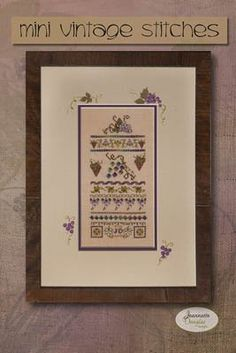 Mini Vintage Grape Stitches by Jeannette Douglas Designs is a cross stitch sampler features a grapes and vines.
