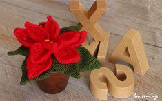 Cómo tejer una flor de pascua de ganchillo Burlap Wreath, Flower Power, Christmas Wreaths, Holiday Decor, Flowers, Diy, Home Decor, Ideas Para, Animal