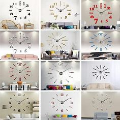 New #luxury 3d diy wall #clock home decoration mirror living room #large art desi,  View more on the LINK: 	http://www.zeppy.io/product/gb/2/152336502528/