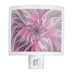 #floral - #Fractal Pink Flower Dream Floral Fantasy Pattern Night Light