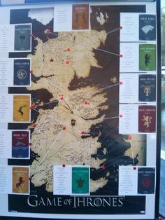 Siting plan juego de tronos!! Fácil de hacer y original! A los seguidores de esta saga les encantó!!