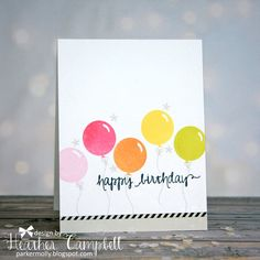 I have some festive cards to share with you.  Heather created this card using the happy birthday sentiment from our So Happy stamp set. The balloons and confetti stars from our Balloons stamp set are a perfect match for the sentiment.  So cute!!