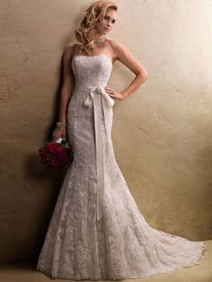 Trumpet/Mermaid Strapless Lace Satin Chapel Train Ivory Sashes / Ribbons Wedding Dresses at Millybridal.com