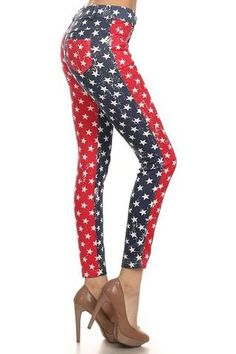 89aa7c9f56a8a6 Distressed Star Spangled Patriotic USA Red White Blue Leggings Pants Blue  Leggings, Leggings Are Not