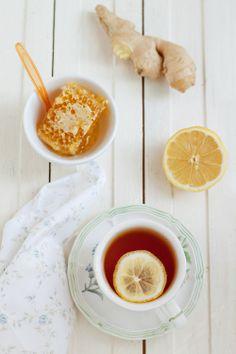 Te with lemon, honey & ginger