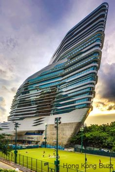 This building looks like something from a Sci-Fi movie!. It is designed by Pritzker-prize-winning architect Zaha Hadid.