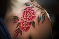 Flowers tattoo. Shoulder tattoo