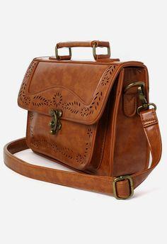 Brown Vintage Satchel Bag with Cut Out Detail Cute Bags de05c8bcfb8d6