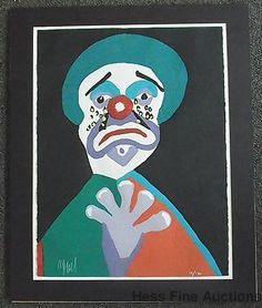 Large Karel Appel Signed Color Wood Engraving Print Sad Clown 111/130 COA Cobra