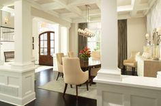 column dining room, coffered ceiling