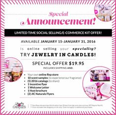 Have you ever for a minute considered joining JIC as a rep, but couldn't afford it or if selling online is for you, then you should really checkout this great limited time offer that's available starting January 15, 2016, this Friday!  P.S.You can always join just for your 30% discount if your like me and just love having a great smelling candle always burning! https://www.jewelryincandles.com/store/barbs