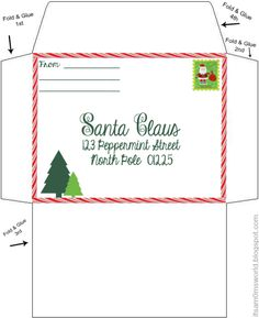 Free North Pole Envelope Template with Printable Christmas List Envelope Template Printable, Santa Letter Template, Santa Letter Printable, Letter Templates Free, Free Printable, Christmas Envelopes, Christmas Stationery, Christmas Labels, Christmas Printables