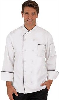 Imperial Chef Coat with Piping - Fabric Covered Buttons - 65/35 Poly/Cotton