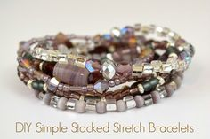 Stretch Bracelet Tutorial: How To Make A Simple Stacked Accessory Bead Soup? Good way to use all those miscellaneous beads - Simple Stacked Stretch Bracelets - Great, easy turorial from Adrianne at Beaded Jewelry, Jewelry Bracelets, Handmade Jewelry, Simple Bracelets, Bracelets Crafts, Hemp Jewelry, Silver Bracelets, Beaded Earrings, Diy Schmuck