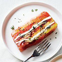 Heirloom Tomato and Eggplant Terrine - Fresh Tomato Recipes - Cooking Light Fresh Tomato Recipes, Vegetable Recipes, Vegetarian Recipes, Loaf Recipes, Cooking Recipes, Terrine Recipes, Dishes Recipes, Cooking Tips, Antipasto
