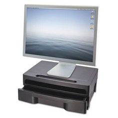 """awesome Officemate Monitor Stand with Drawer, 13-1/8"""" x 9-7/8"""" x 5"""", Black"""