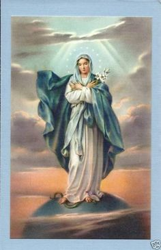 "Catholic Large HOLY CARD picture BLESSED VIRGIN MARY 3 1/2 x5 1/2"" postcard size"