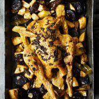 Roast chicken with sage, celeriac and black pudding