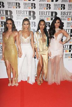 Brit Awards 2016 Red Carpet - Little mix Little Mix Brits, Little Mix Outfits, Little Mix Style, Brit Awards 2016, Perrie Edwards Style, Litte Mix, Jesy Nelson, Red Carpet Looks, Strapless Dress Formal