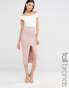 Missguided Tall Split Front Longline Faux Suede Midi Skirt