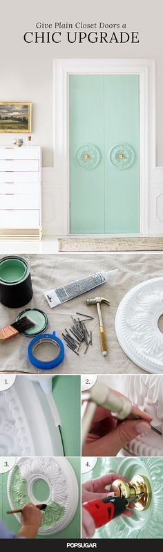The Clever DIY That Makes Plain Closet Doors Look Like a Million Bucks - Buying Home - What to be awared before buying home? Check this out - The Clever DIY That Makes Plain Closet Doors Look Like a Million Bucks Diy Closet Doors, Closet Paint, Painted Closet, Closet Door Makeover, Hall Closet, Diy Casa, Creation Deco, Home And Deco, Clever Diy