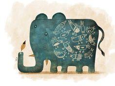 Elefante con pájaros. Illustration. Sergio Gontz