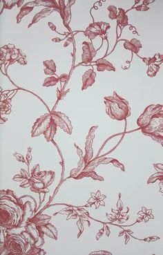 Samantha's Bouquet Toile Wallpaper A toile wallpaper featuring creeping branches with flowers in red on cream.