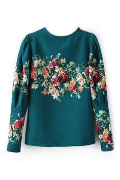 ROMWE   Floral Print Green Blouse, The Latest Street Fashion
