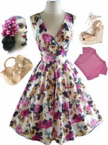 50s Style Fuchsia Rose Bombshell PINUP Rockabilly Dress