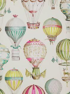 "High Quality 45/"" 100/% Cotton Canvas Fabric Hot Air Balloon Sky Flight Globe"