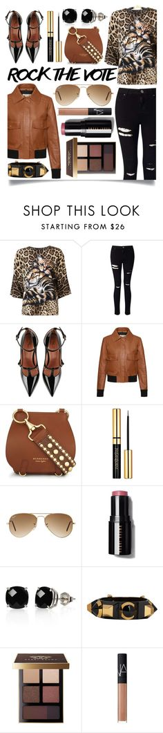 """Rock the Vote in Style"" by ittie-kittie ❤ liked on Polyvore featuring Dolce&Gabbana, Miss Selfridge, RED Valentino, Tod's, Burberry, Ray-Ban, Belk & Co., Fendi, Bobbi Brown Cosmetics and NARS Cosmetics"