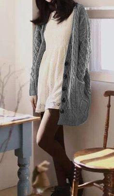 Interesting idea to wear the white dress in fall/winter!