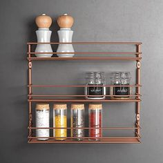 Metaltex 'Pepito 3' 3-Tier Spice Rack, Polytherm Copper, 36 x 8 x 32 cm: Amazon.co.uk: Kitchen & Home 3 Tier Spice Rack, Hanging Spice Rack, Spice Holder, Wooden Spice Rack, Spice Rack Copper, Copper And Marble, Spice Storage, Kitchen Storage Solutions, Smart Kitchen
