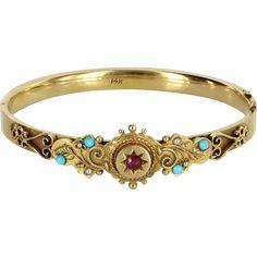 Antique Victorian Ruby Turquoise Bangle Bracelet Vintage 14 Karat Yellow Gold Estate