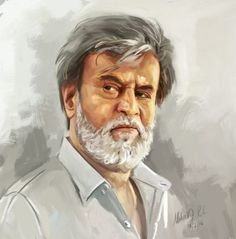 ArtStation – Rajanikanth Portrait, Mahesh RC - Wall Painting Tips Watercolor Portrait Tutorial, Acrylic Portrait Painting, Acrylic Painting Inspiration, Matte Painting, Watercolor Portraits, Portrait Art, Watercolor Paintings, Pencil Portrait, Painting Tips