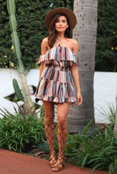 festival outfit summer outfit casual outfit comfy outfit boho chic outfit boho outfit beach outfit getaway outfit - brown fedora colorful stripe off shoulder dress brown gladiator sandals Boho Outfits, Style Outfits, Fashion Outfits, 30 Outfits, Casual Outfits, Lollapalooza, Fashion Looks, Boho Fashion, Fashion Black