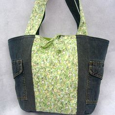 100% reclaimed fabrics eco tote... made from a skirt and pair of jeans!
