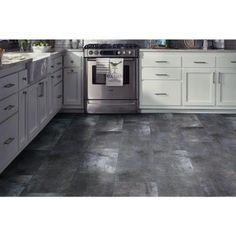 TrafficMASTER Light Brown 12 in. x 24 in. Peel and Stick Travertine Vinyl Tile sq. / case) - - The Home Depot Peel And Stick Floor, Peel And Stick Vinyl, Vinyl Tile Flooring, Kitchen Flooring, Vinyl Style, Natural Stone Flooring, Stick On Tiles, Concrete Wood, Waterproof Flooring
