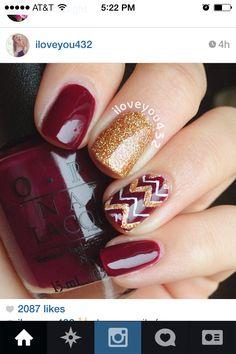 Iloveyou432 fall nail art