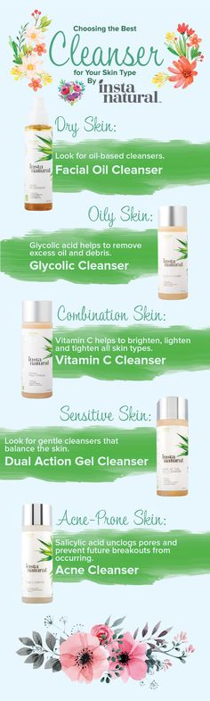 Need help finding a cleanser for your skin type? InstaNatural has a cleanser for dry skin, oily skin, combination skin, sensitive skin, and acne prone skin. Choosing the right cleanser can help you prevent breakouts and blemishes, break down build up, fight signs of aging and remove dirt, debris and makeup without stripping your skin.