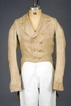 Gent's Brown Linen Tail Coat, America, 1800-1830 Judging by the waist seam, this is going to be in the later range.