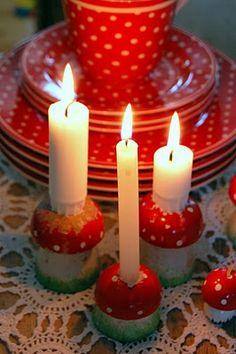 polka dot and cutest mushroom candle holders