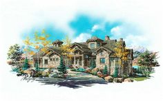This mountain plan has a design that would look great next to a lake or even in some woods with a ski resort right around the corner.  The central great room splits the kitchen area and the bedrooms.  This house has the ultimate sports basement.  There is a golf simulator, a game area to put your pool table, an exercise room and a sports court.