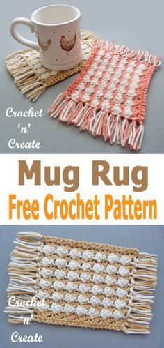 Free crochet pattern for mug rug, make with or without tassels. #crochetncreate #freecrochetpatterns #crochetcoasters