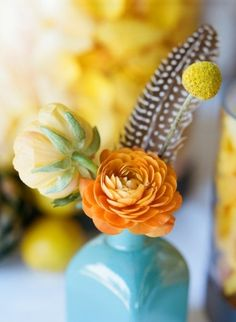 I really love billy balls and the pheasant feather look Billy Balls, Orange And Turquoise, Orange Yellow, Turquoise Color, Coral, Painted Vases, Painted Bottles, Bouquet, Mellow Yellow